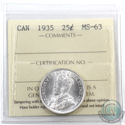 25-cent 1935 ICCS Certified MS-63.