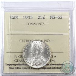 25-cent 1935 ICCS Certified MS-62