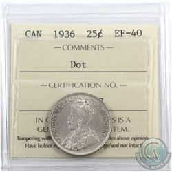 25-cent 1936 Dot ICCS Certified EF-40.