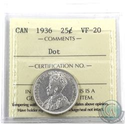 25-cent 1936 Dot ICCS Certified VF-20.