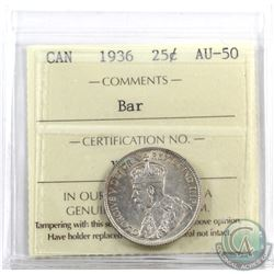 25-cent 1936 Bar ICCS Certified AU-50. A very undervalued variety. Worth an extra bid!