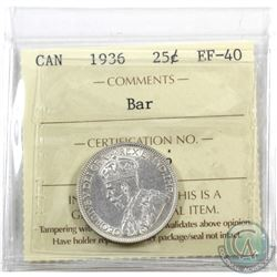 25-cent 1936 Bar ICCS Certified EF-40