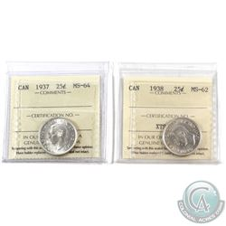 25-cent 1937 MS-64 & 1938 MS-62 ICCS Certified. 2pcs. Both blast white with nice original lustre.