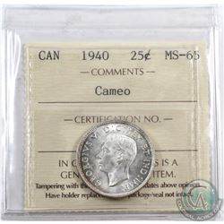 25-cent 1940 ICCS Certified MS-65 Cameo. Beautiful toning on reverse and a solid cameo on the obvers