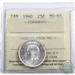 25-cent 1940 ICCS Certified MS-65