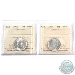 25-cent 1940 & 1947 ICCS Certified MS-63. 2pcs
