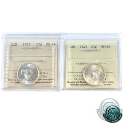 25-cent 1942 & 1943 ICCS Certified MS-64. 2pcs.