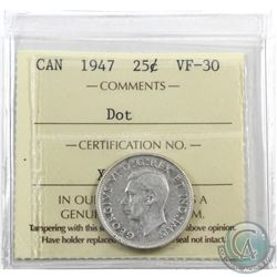 25-cent 1947 Dot ICCS Certified VF-30