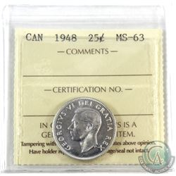 25-cent 1948 ICCS Certified MS-63. Beautiful strike, shows better than grade!