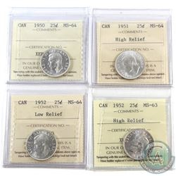 25-cent ICCS 1950 MS-64, 1951 High Relief MS-64, 1952 Low Relief MS-64 & 1952 High Relief MS-63. 4pc