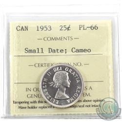 25-cent 1953 Small Date, ICCS Certified PL-66 Cameo. Bright flashy coin on this rare low mintage str