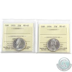 25-cent 1955 & 1956 ICCS Certified MS-65. 2pcs