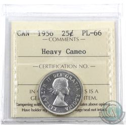 25-cent 1956 ICCS Certified PL-66 Heavy Cameo
