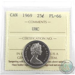25-cent 1969 ICCS Certified PL-66 Ultra Heavy Cameo. Tied for finest known.
