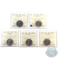 25-cent 1970, 1971, 1972, 1974 & 1977 ICCS Certified MS-66. 5pcs