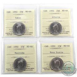 25-cent 1992 Alberta, Nova Scotia, Manitoba & Yukon ICCS Certified MS-66. 4pcs
