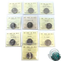 25-cent 2000 Community, 2000 Natural Legacy, 2000 Freedom, 2001P, 2002P Canada Day, 2003P New Effigy