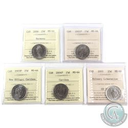 25-cent 2000 Harmony, 2001P, 2003P New Effigy, 2004P & 2005 Silver Liberation ICCS Certified MS-66.