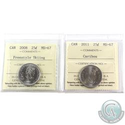 25-cent 2008 Freestyle Skiing & 2011 ICCS Certified MS-67. 2pcs