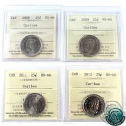 25-cent Caribou 2008, 2009, 2011, 2012 ICCS Certified MS-66. 4pcs.