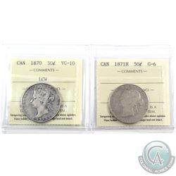 50-cent 1870 LCW ICCS VG-10 & 1871H ICCS G-6. 2pcs