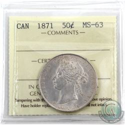 50-cent 1871 ICCS Certified MS-63. A Rare Mint state example of this Victorian 50-cent coin is tied