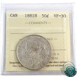 50-cent 1881H ICCS Certified VF-30