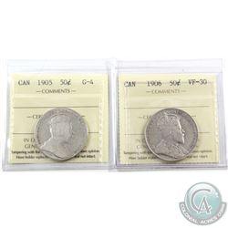 50-cent 1905 ICCS G-4 & 1906 ICCS VF-30. 2pcs