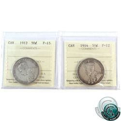 50-cent 1912 F-15 & 1914 F-12 ICCS Certified. A nice pair of even, medium tone coins. 2pcs.