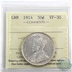 50-cent 1914 ICCS Certified VF-30