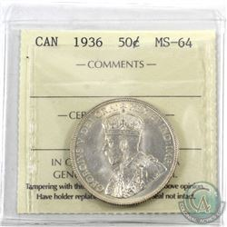 50-cent 1936 ICCS Certified MS-64. *Choice Gem* This coin exhibits attractive lustrous fields accent
