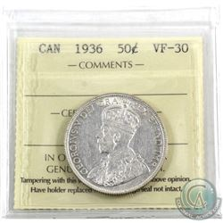 50-cent 1936 ICCS Certified VF-30. A Nice mid-grade example of this semi-key date issue.