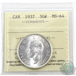 50-cent 1937 ICCS Certified MS-64. Frosted blast white!