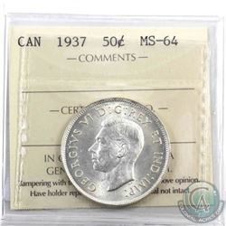 50-cent 1937 ICCS Certified MS-64.