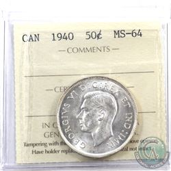 50-cent 1940 ICCS Certified MS-64