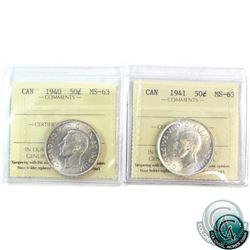 50-cent 1940 & 1941 ICCS Certified MS-63. 2pcs
