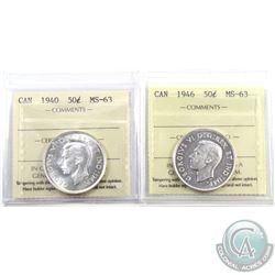 50-cent 1940 & 1946 ICCS Certified MS-63. 2pcs