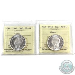 50-cent 1941 & 1942 both ICCS Certified MS-64 Cameo! An attractive matching pair with full white fie