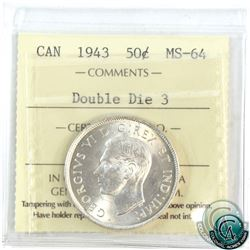 50-cent 1943 Double Die 3 ICCS Certified MS-64. A lustrous coin with subtle hints of golden toning.