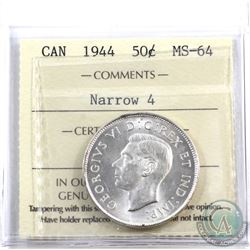 50-cent 1944 Near 4 ICCS Certified MS-64