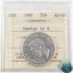 50-cent 1946 Design in 6 ICCS Certified AU-55