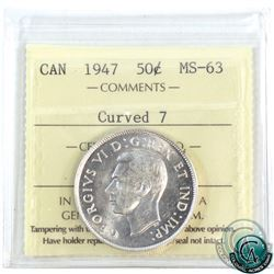 50-cent 1947 Curved 7 ICCS Certified MS-63. A bright flashy coin.