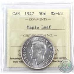 50-cent 1947 Maple Leaf ICCS Certified MS-63! Full white lustrous coin.
