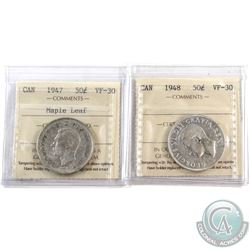 50-cent 1947 Maple Leaf & 1948 ICCS Certified VF-30. 2pcs