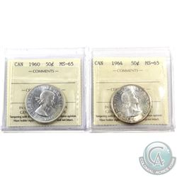 50-cent 1960 & 1964 ICCS Certified MS-65. 2pcs. Lightly toned