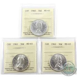 50-cent 1960, 1961 & 1962 ICCS Certified MS-65. 3pcs. Lightly toned
