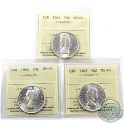 50-cent 1961, 1962 & 1963 ICCS Certified MS-65. 3pcs
