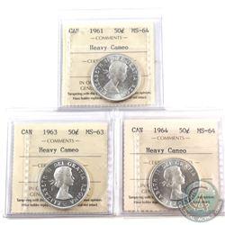 50-cent ICCS 1961 MS-64 Heavy Cameo, 1963 MS-63 Heavy Cameo & 1964 MS-64 Heavy Cameo. 3pcs