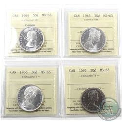 50-cent 1964 Cameo, 1965, 1966 & 1969 ICCS Certified MS-65. 4pcs