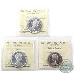 50-cent 1964 Heavy Cameo, 1966 Cameo & 1969 Heavy Cameo ICCS Certified PL-66. 3pcs
